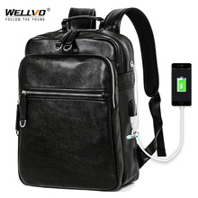 Men Leather Backpack USB Charging Travel Rucksack School Book Bag for Male 14 inch Laptop Business mochila Shoulder Bags XA133WC