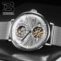 Модные 3D Изогнутые стекло для мужчин Tourbillon часы с автоподзаводом Flying Wheels механические часы Полный сталь Миланского наручные часы