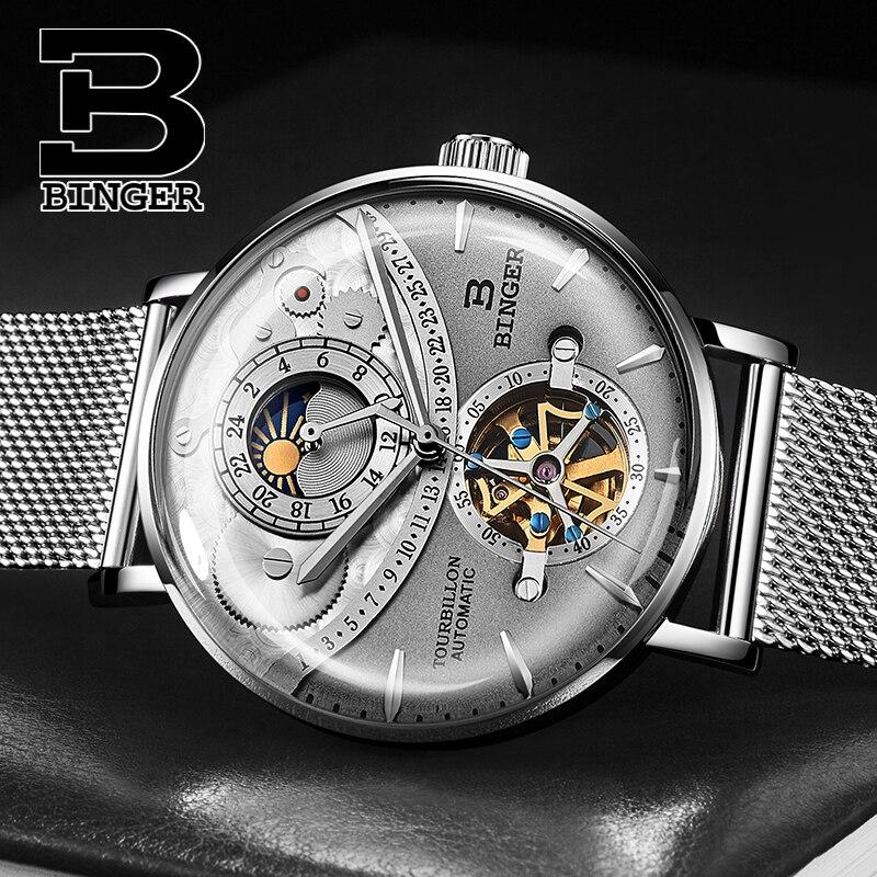 패션 쿨 3d 곡선 유리 남자 뚜르 비옹 시계 자동 와인딩 플라잉 휠 기계식 시계 전체 스틸 밀라노 손목 시계-에서기계식 시계부터 시계 의  그룹 1
