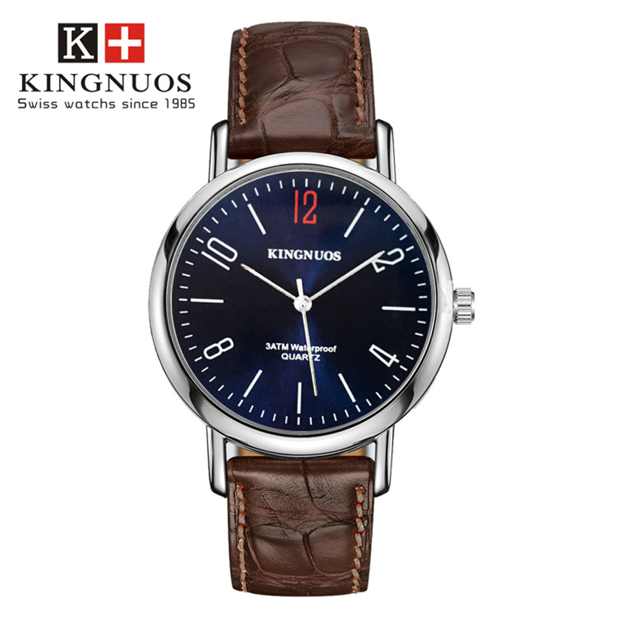 KINGNUOS Quartz Wrist Watch Fashion Men Watches Top New Red 12 Hour Dial Clock Band Leather Rose Silver Case Male Hours fifth paidu unique fashion truntable square dial design leather band men women quartz wrist watch dress hours male watch gifts relogio