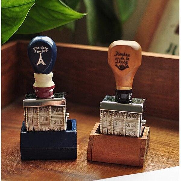 Vintage Wooden Words and Date Stamp DIY Rolling Wheel Rubber Scrapbooking Craft Stamp Korean Stationery SK785 1pcs gray rolling wheel 14 digits number roller stamp