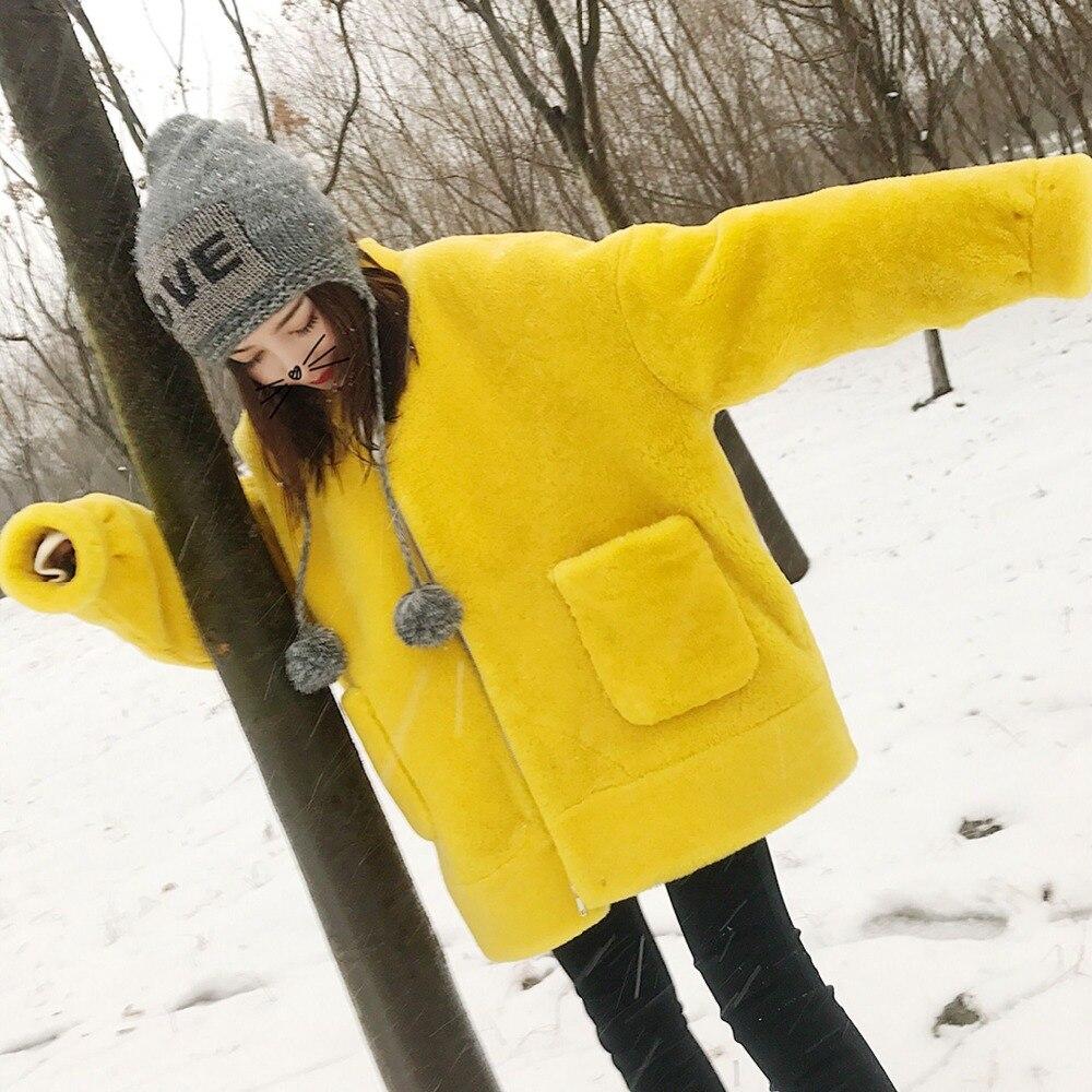 Double Noir jaune Manteau Mode Femmes Fourrure Cheveux Nouvelle Agneau D'hiver 2018 Tempérament Imitation rose Des face Court De aZUOxpWS