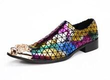 New Italian Fashion Designer Gold Dragon Toe Oxfords Shoes for Men Genuine Leather Colorful Plaid Dress Shoes Men Wedding Flats