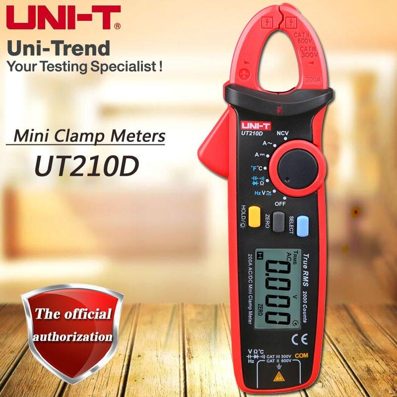 UNI-T UT210D AC/DC 200A True RMS Высокая точность мини цифровой клещи/НТС/VFC Функция/ ноль измерения/Температура Тесты