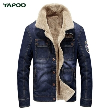 TAPOO Stylish Turn-down Collar Epaulet Embroidered Male Warm Jeans Jacket for Man men Jeans Fashion Pockets Jacket Winter Spring