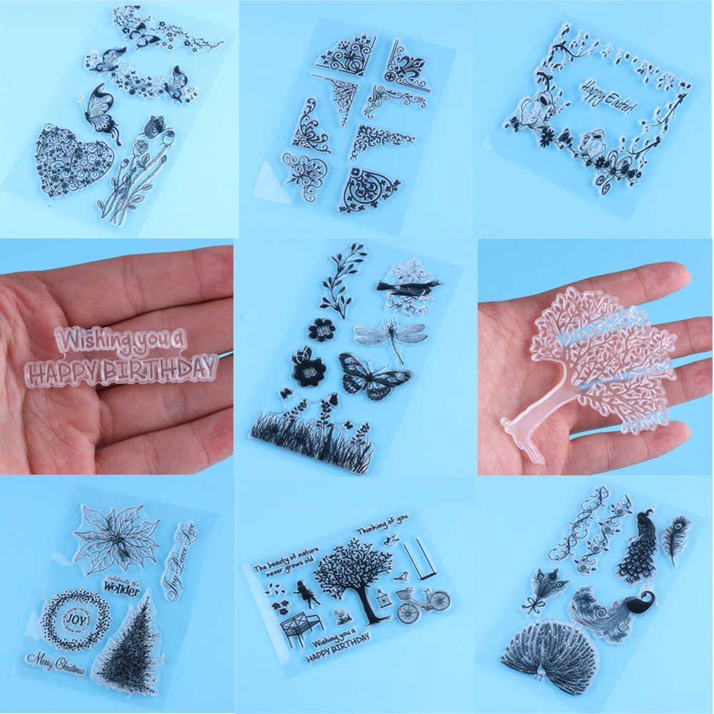 DIY Butterfly Alphabet Tree Silicone Rubber Stamp Scrapbooking Transparent Stamps DIY Card Making Crafts Photo Album Decor Tools