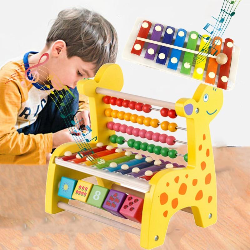 Ксилофон барабаны Щупы для мангала 8 тон палевый арифметическая деревянный Красочные мудрость развития раннего образования музыкальный инструмент, игрушка