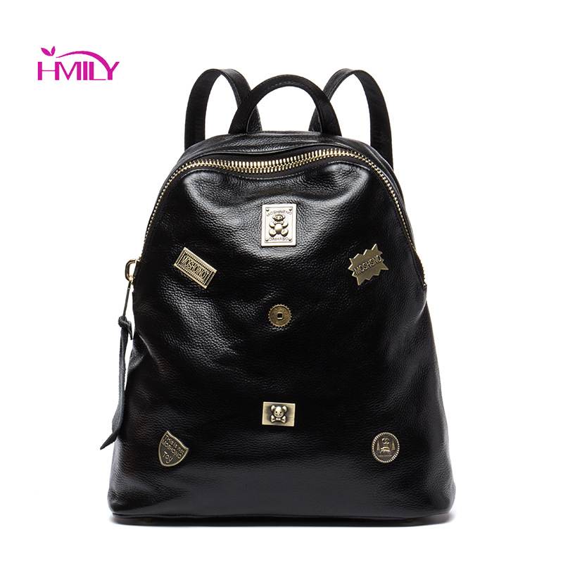 цены HMILY 2018 new leather women's bags personalized ladies bag Metal stamp accessory backpack Korean style wave Backpacks