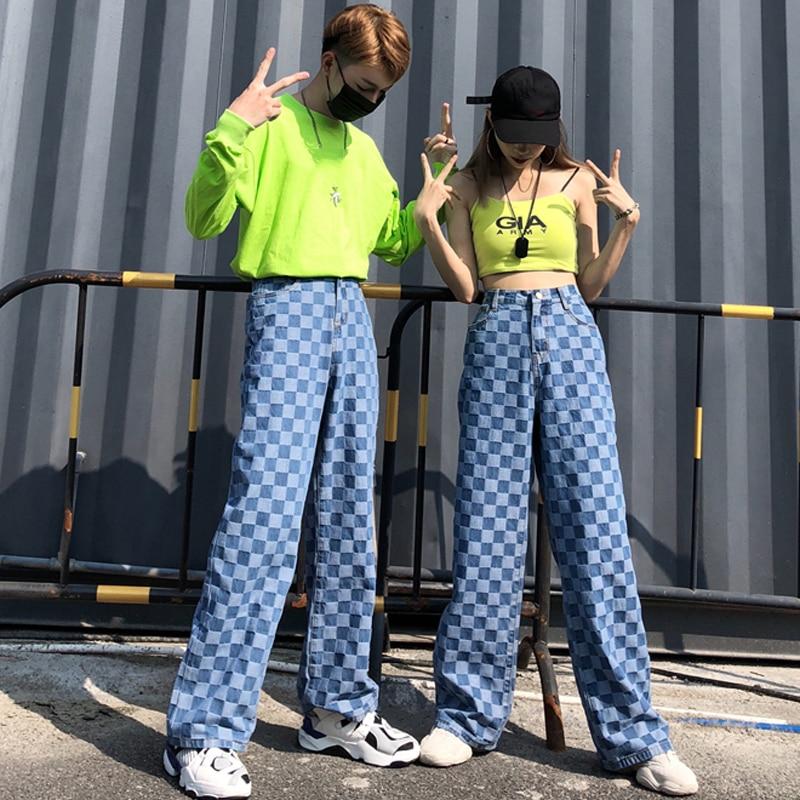 KaWaYi Mens Denim Plaid Oversized Long Sleeve Lapel Button T-Shirts Shirt