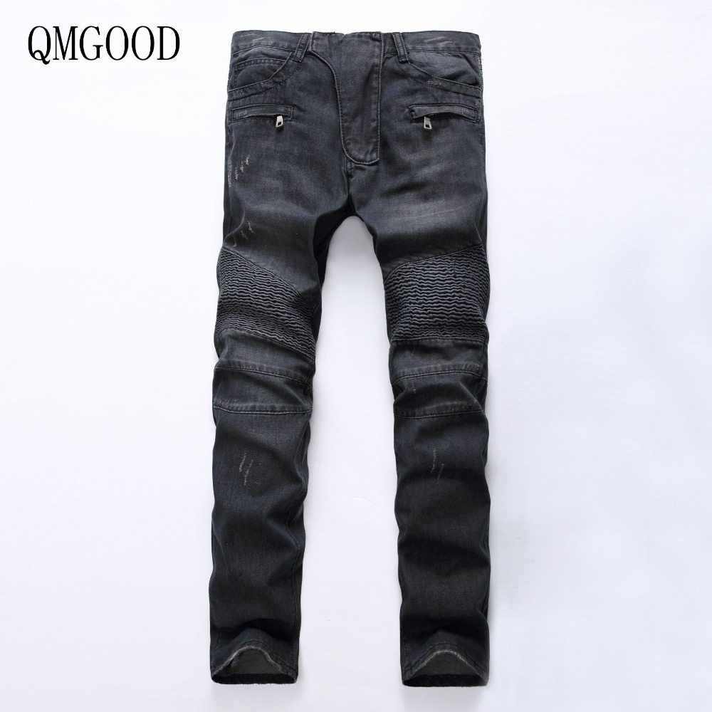 QMGOOD Men White Jeans Large Size Skinny Ripped Stretch Slim Europe Zipper Motorcycle Pants  40 42 Men's Fold Pants Black Blue pl50 lcd