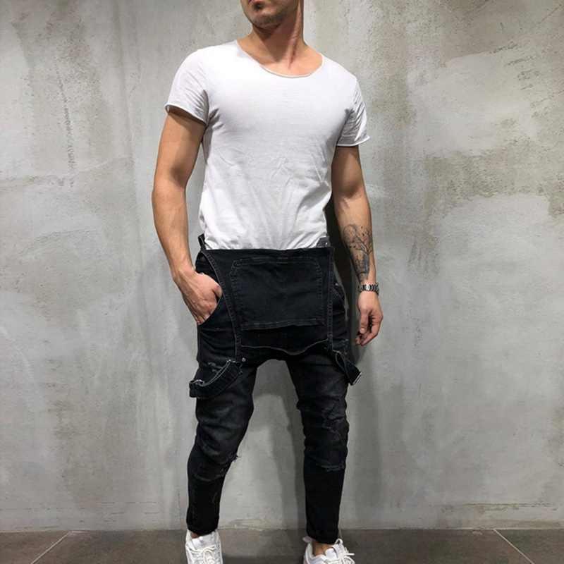 1de9cfd459fb ... MoneRffi New Fashion Men s Ripped Jeans Jumpsuit High Street Distressed  Denim Bib Overalls For Man Suspender ...