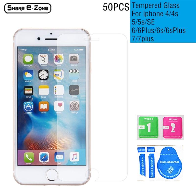 imágenes para 50 Unids Shareezone 4S Vidrio Templado Protector de Pantalla para Apple iphone 5 5S 6 6 s 7 plus Premium película protectora pelicula de vidro