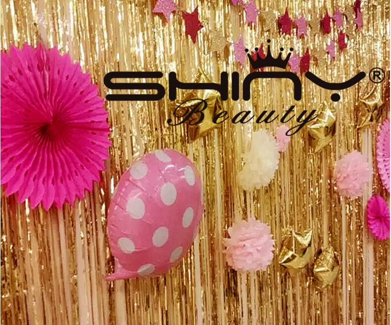 ShinyBeauty Tinsel Foil Fringe Curtain 3FTX8FTGold Door Window Curtain/Backdrops  Party Decoration