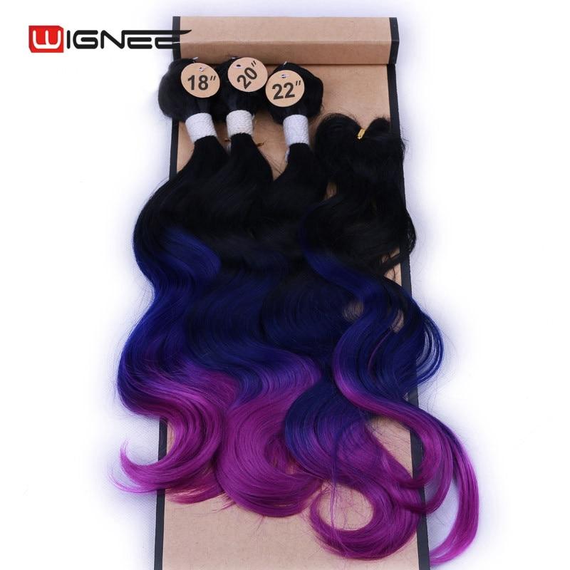 Wignee 4 pçs/lote 3 Pacotes Com Fecho de Onda Do Corpo Sintético Para Mulheres Resistente Ao Calor Azul/Roxa/Marrom/ cinza Extensões de Cabelo cabelo