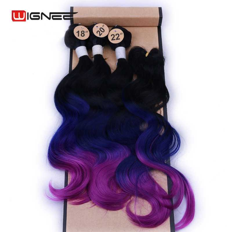 Wignee 4pcs/Lot 3 Bundles With Closure Wave Synthetic  For Women Heat Resistant Blue/Purple/Brown/Grey Hair For Women Extensions