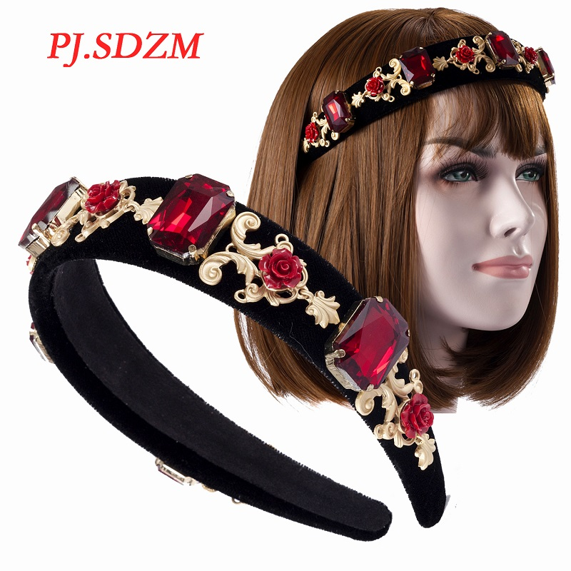 Retro Baroque Fashion Red Women Hair Decoration Comfortable Crystal Exquisite Female Hairband All Match Beautiful Hair Accessory