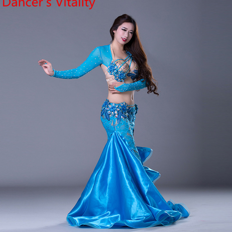 Luxury Girls Belly Dance Costumes Long Sleeves Bra+Lace Skirt 2pcs Belly Dance Suit Women Ballroom Dance Set Dance Dress