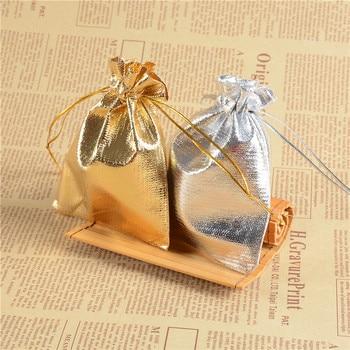 100pcs Silver Color Gold Metallic Foil Organza Pouches Christmas Wedding Party Favour Gifts Candy Bags 5x7cm 7x9cm
