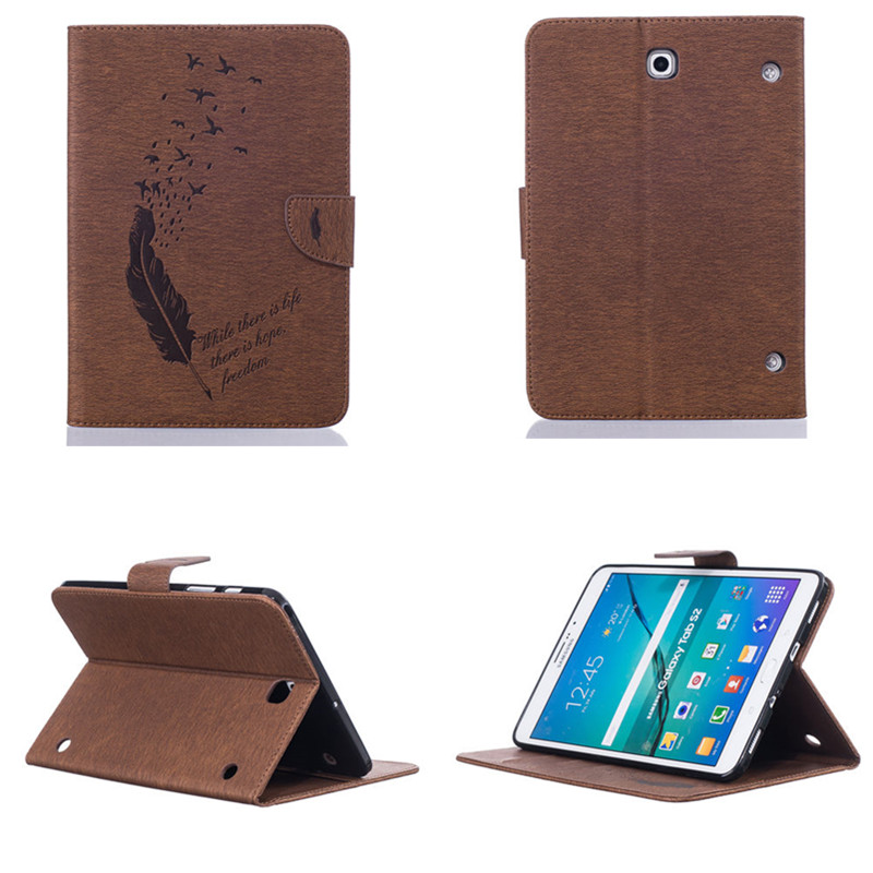 BF PU Leather Stand Case Cover For Samsung Galaxy Tab S2 8.0 inch SM T710 T715 T719 T713 Painted Feather With  Card Slots