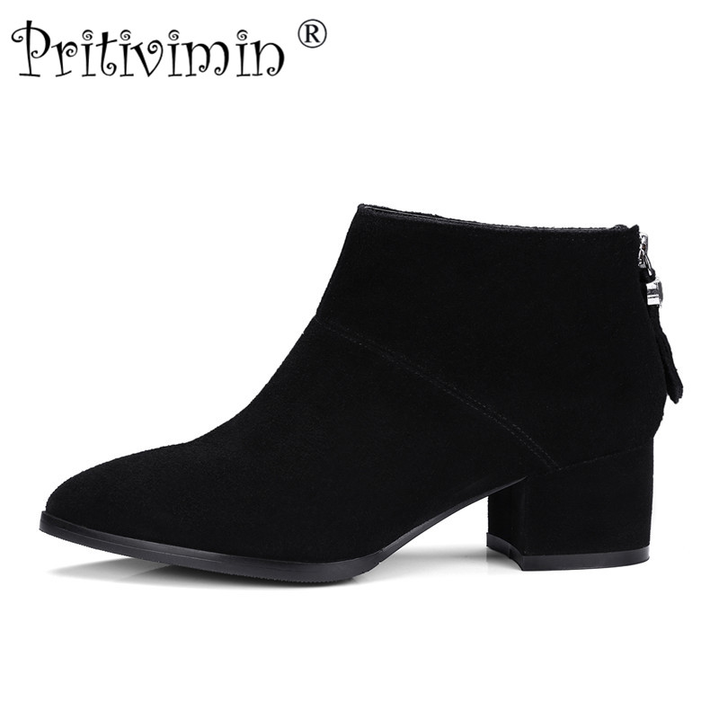 2017 New ladies Pointed toe lined warm winter shoes woman genuine leather thick high heels autumn ankle boots Pritivimin FN129 egonery quality pointed toe ankle thick high heels womens boots spring autumn suede nubuck zipper ladies shoes plus size