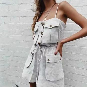 2019 Safari Style Spaghetti Strap Jumpsuit Women Open Button Lacing up Bow Waist Short Pants Romper Cotton Linen Playsuits 2