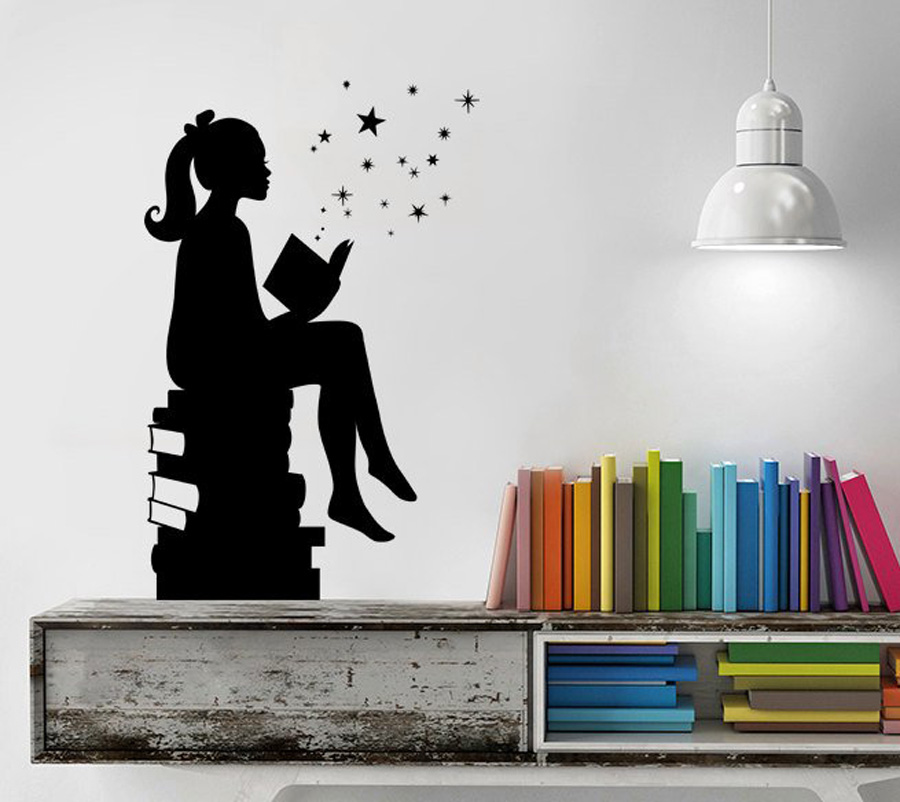 US $4 91 30% OFF|Girl Reading Books Magic Wall Decal Bedroom Vinyl Art  Stickers for Schools Classrooms Libraries Home Room Decoration Mural  G173-in
