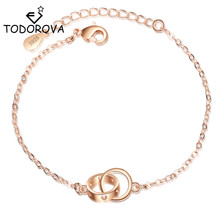 Todorova Korean Fashion Cut Out Heart Double Circle Interlock Friendship Bracelets for Women Gift Rose Gold Color Jewelry