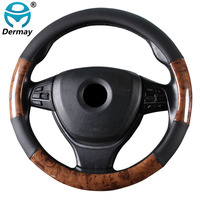 Car Steering Wheel Cover 4 Styles Wooden Style Non slip Breathable Braid on the Steering wheel Auto Car Styling For Most Vehicle