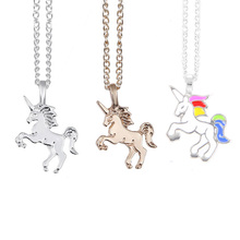 Fashion Jewelry Animal Horse Unicorn Pendant Necklace Cartoon Enamel for Women Girls Children Kids Gift
