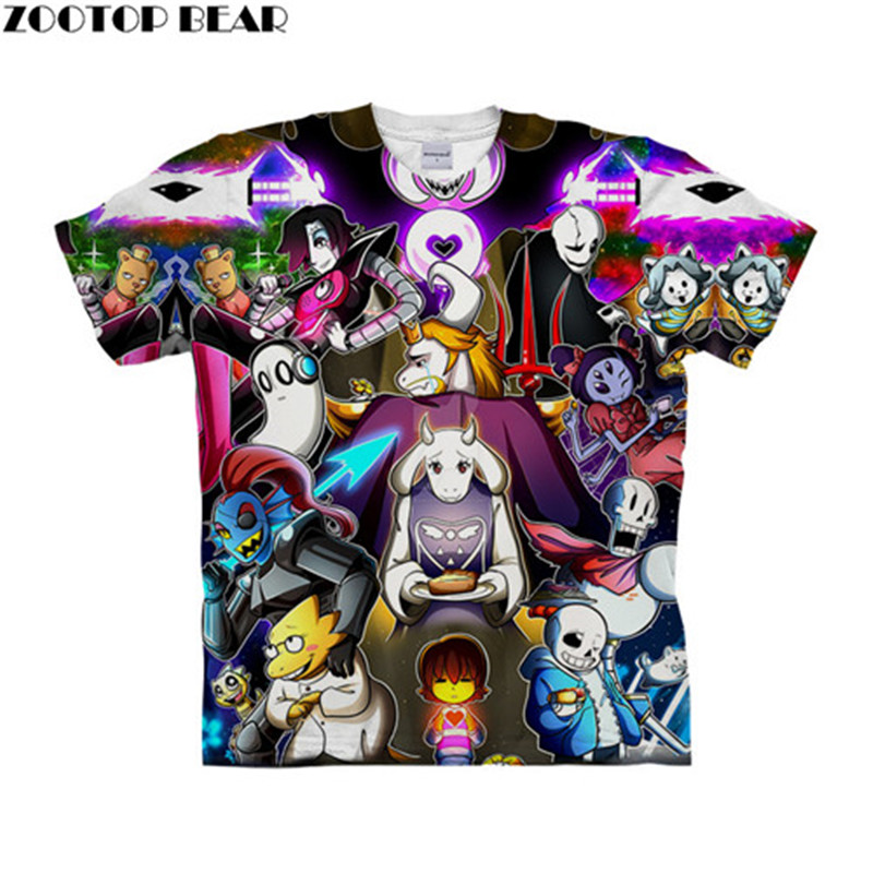 Undertale Party 3D t shirt Travel Summer tshirt Men t-shirt Top Tee Funny Short Sleeve Shirt Streetwear Dropship ZOOTOPBEAR New