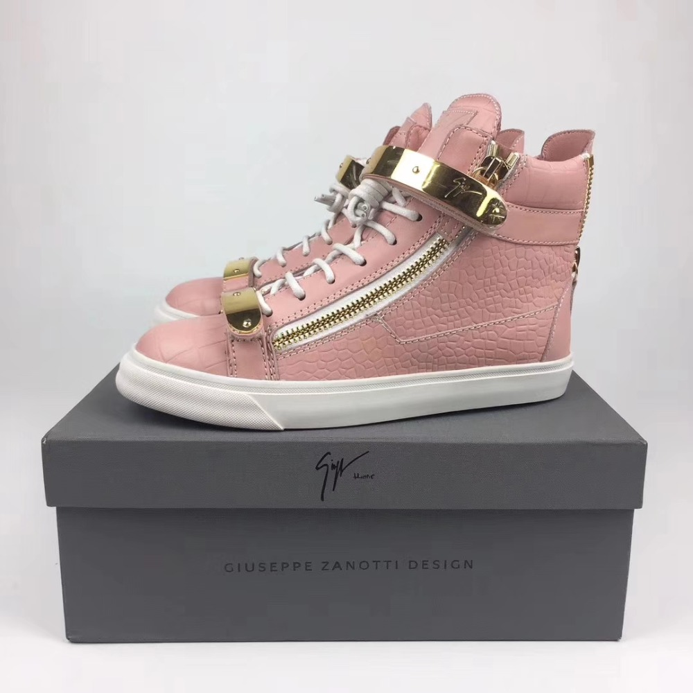 Authentique Giuseppe x zanotti design peau de Crocodile rose GZ baskets montantes femmes plates chaussures décontractées dame formateurs