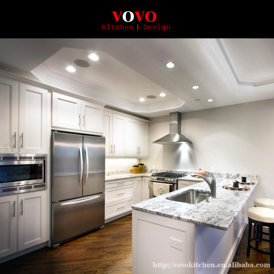 American Style White Customized Solid Wood Kitchen Cabinet