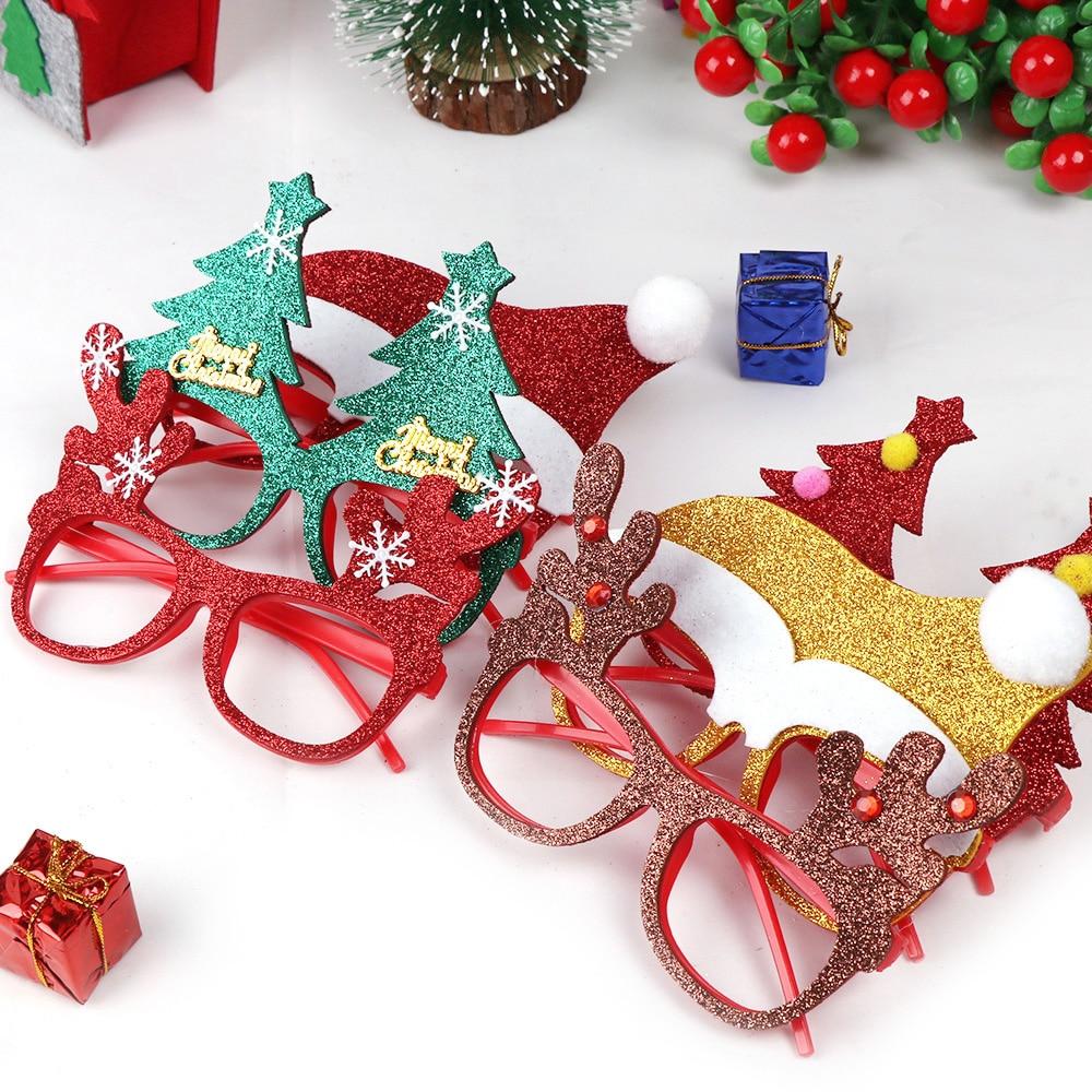 600 pçs decorações de natal para decoração de casa óculos de ano novo para crianças papai noel cervos boneco de neve enfeites de natal aleatório - 4