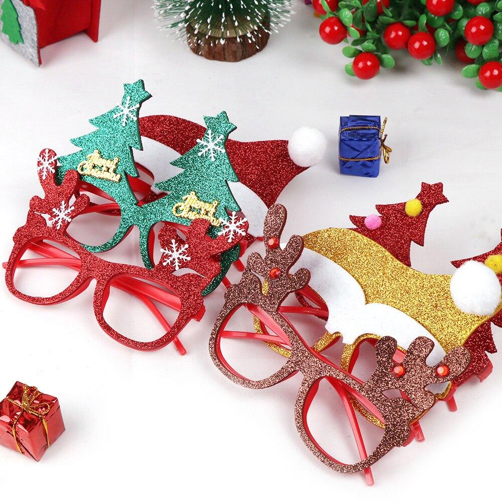 600 шт рождественские украшения для домашнего декора новогодние очки для детей Санта Клаус Олень снеговик рождественские украшения случайный - 4