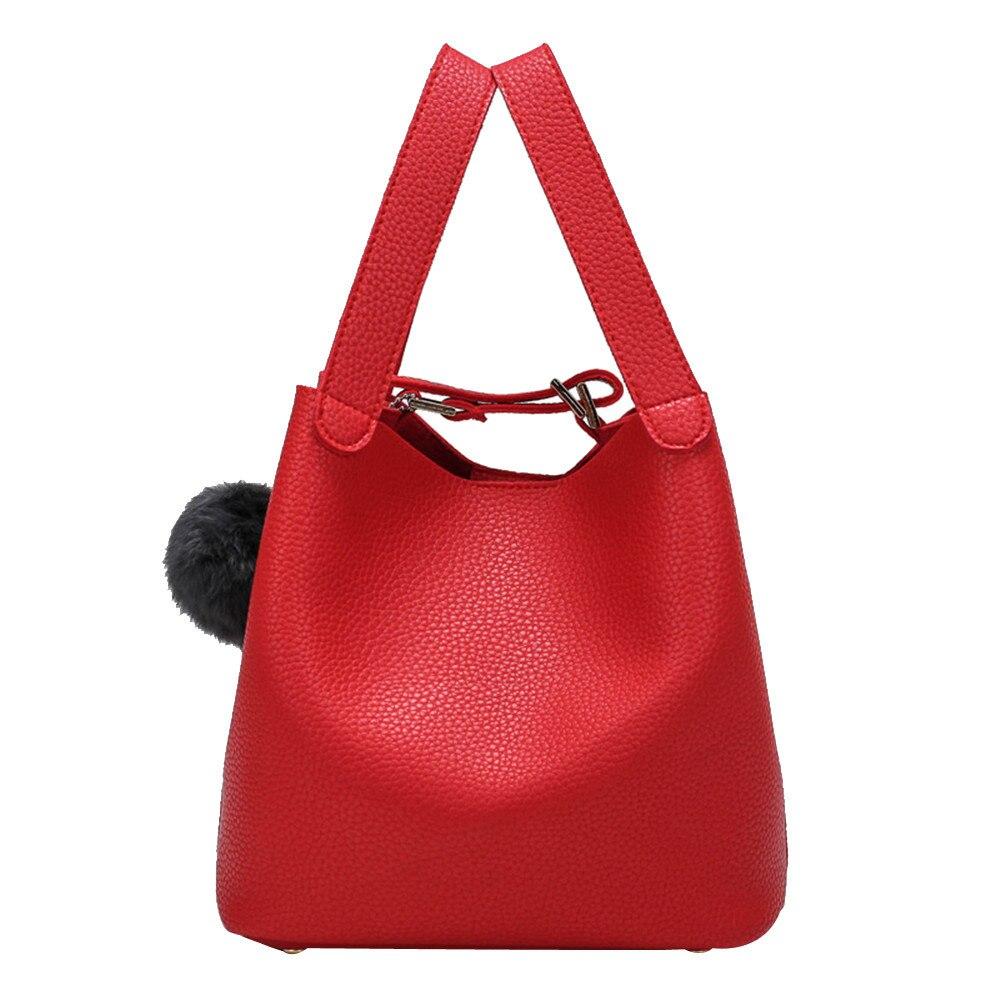 Frauen Handtaschen Eimer Solide Tasche Hairball Reine Farbe Handtaschen Taschen 2019 Neue Weibliche Damen Mädchen Mini Tote # Xqx Professionelles Design Hosen