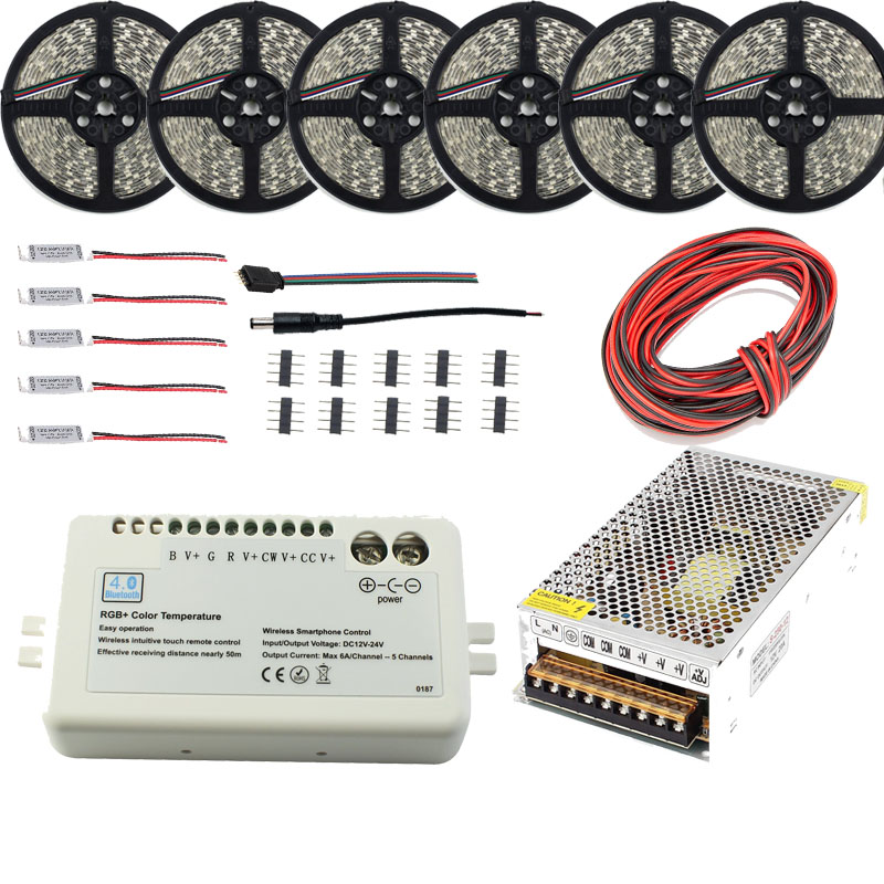 30 m 20 m LED bluetooth bande RGB RGBW double couleur 5050 2835 étanche + Mi contrôleur de lumière + amplificateur + adaptateur d'alimentation livraison gratuite