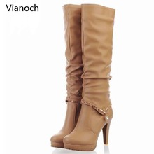 Vianoch New Fashion Womens Boots Knee Length Sexy Platform Pumps High Heels Shoes Lady Size 40 41 42 43 wo180897