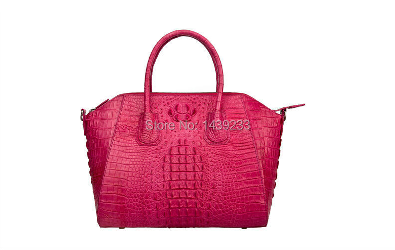 100% genuine crocodile leather skin handbag fashion women tote bag crocodile leather tote stylish women s tote bag with clip closure and crocodile print design