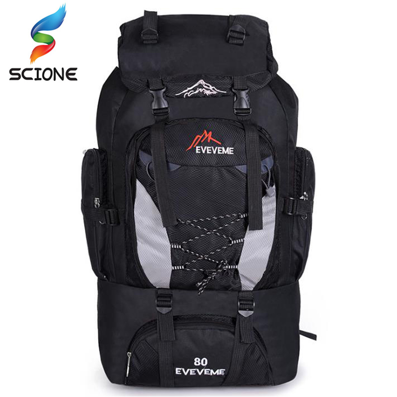 2018 A++Big 80L Waterproof Nylon Climbing Bag Camping Outdoor Sport Bags Mountaineering Rucksacks Hunting Hiking Travel Backpack 80l camping hiking backpacks big outdoor bag backpack nylon superlight sport travel bag aluminum alloy support 1 65kg