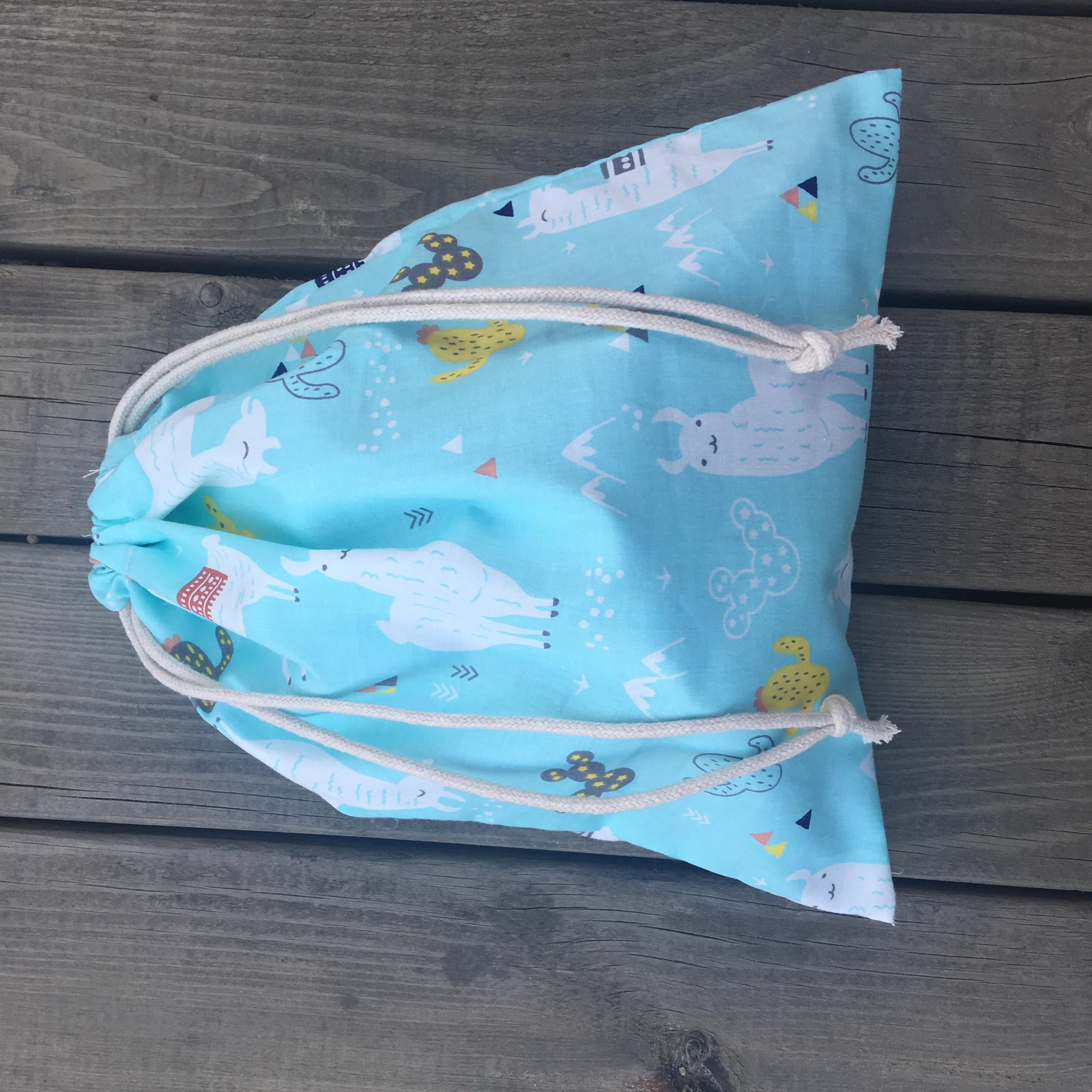 Cotton Twill Drawstring Multi-purpose Bag Party Gift Bag Cactus Animals Alpaca Blue Base YL74