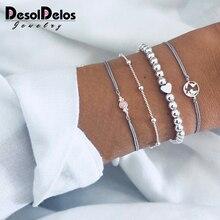купить 4 Pcs/set Women's Exquisite Gem Beads Heart Round Geometry Tassel Bracelet Set Bohemian Vintage Jewelry Accessories Gifts по цене 129.15 рублей