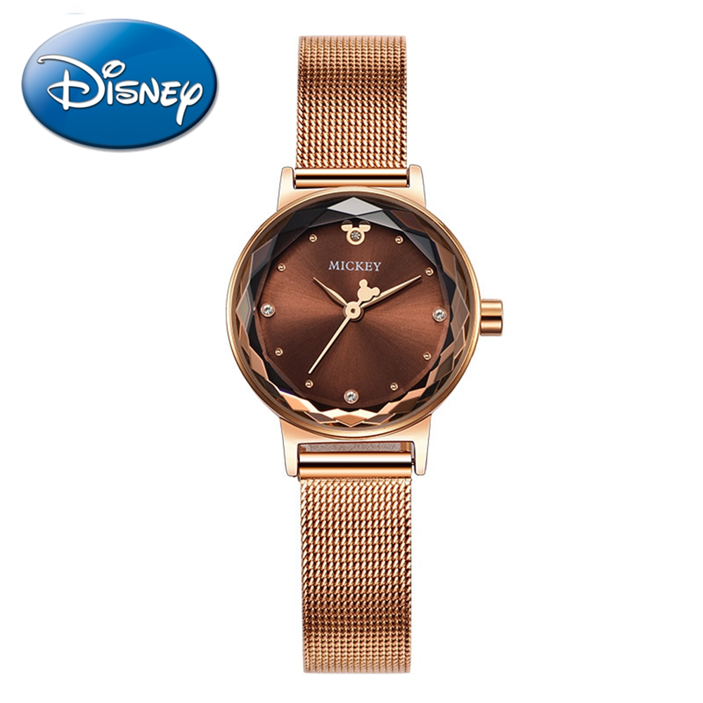 Luxe Strass Stalen Mesh Band Quartz vrouwen Horloge Disney Mickey Mouse Lady Horloges Voor Meisje Rose Goud Zilver Reloj freeship-in Dameshorloges van Horloges op  Groep 1