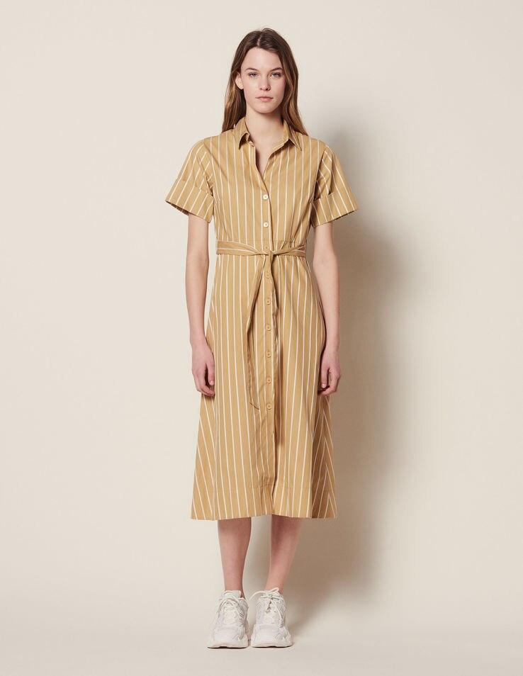 Women Dresses 2019 Spring Summer Stripe Lace Short Sleeve Long Dress