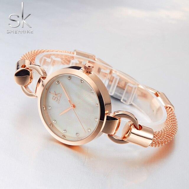 Shengke Fashion Women Watches Women Wristwatches Ladies Bracelet watches Diamond