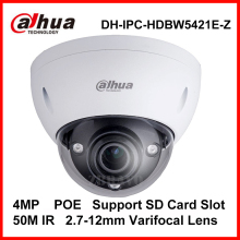 DAHUA IPC-HDBW5421E-Z 4MP WDR 120dB Vandalproof 2.7-12mm varifocal lens ip camera POE Digital Camera Webcam support sd card slot