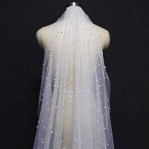 Image 2 - Véu de noiva longo com pérolas, véu de noiva com 3 m, varal catedral, 3 metros branco, marfim, véu de casamento com pérolas acessórios