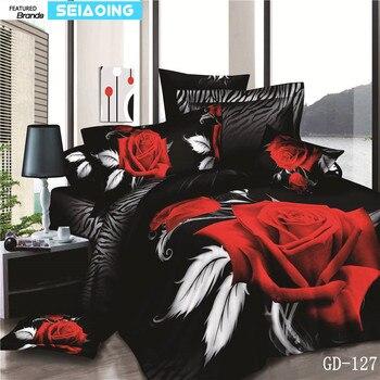 100% de algodón negro y rojo rosa 3D juegos de cama tamaño Queen king para las niñas habitación hoja de cama flor Duvet Cove 4/5 PC juego de cama boda