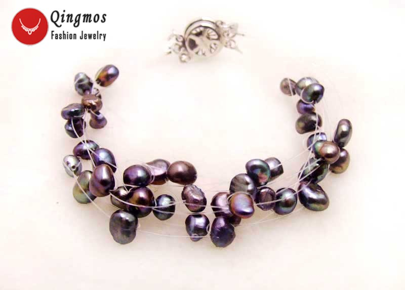 Qingmos Black Natural Pearl Bracelets for Women with 9 Strands 4-7mm Baroque Pearl Starriness Bracelets Fine Jewelry 7.5
