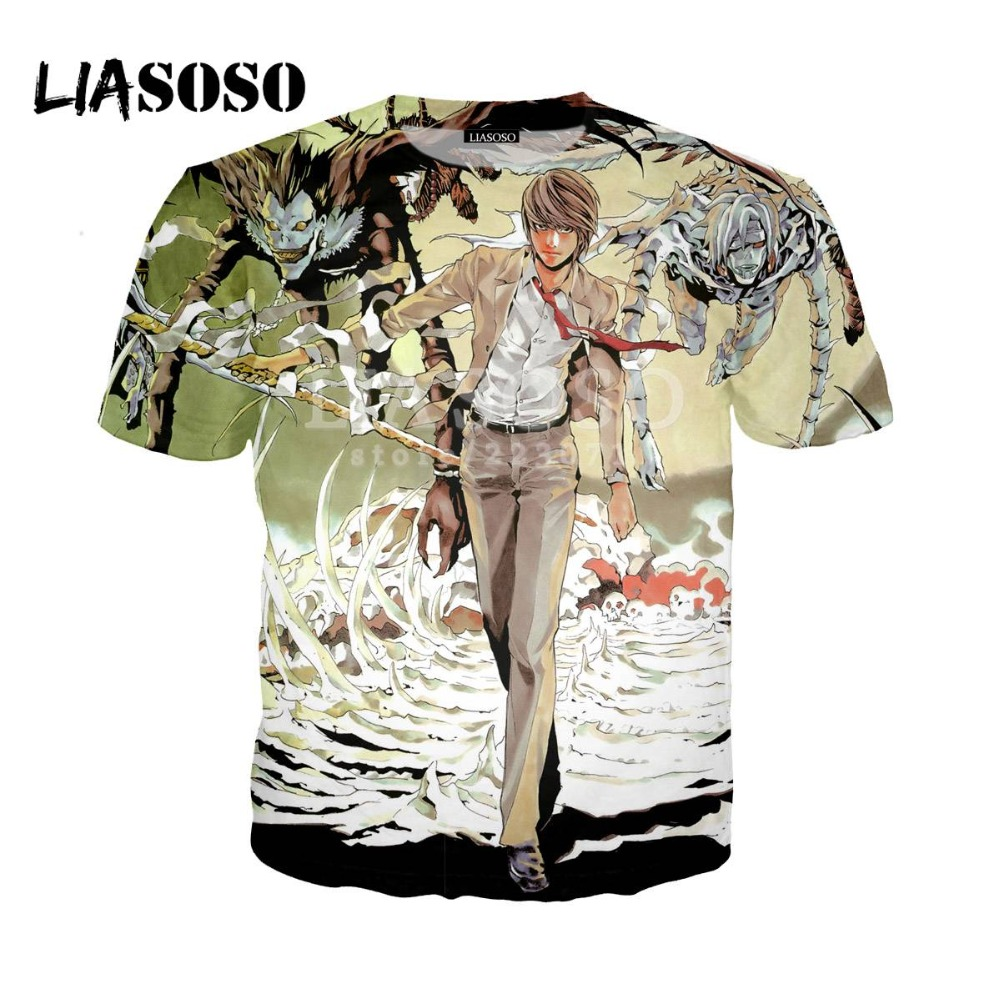 LIASOSO 2018 Summer latest men and women T shirt anime death notes 3D printing men and women T shirt casual brand clothing D094