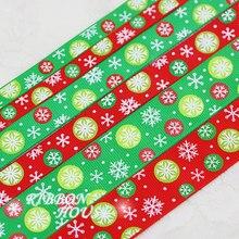 3 size10mm 15mm 25mm impressão de cetim peças de presente de natal do floco de neve vermelho natal embalagem festa diy